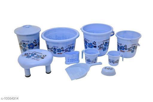 10 Pieces Plastic Bathroom Set Blue