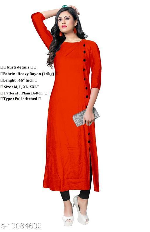 Women Viscose Rayon High- Slit Solid Orange Kurti