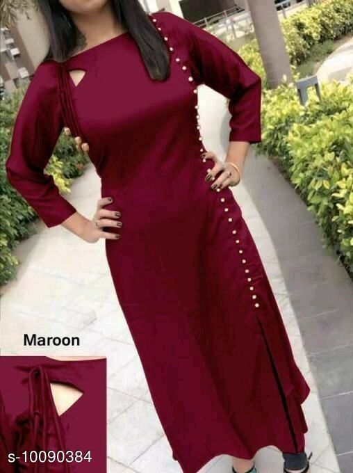 Kurtis & Kurtas  *name* Modern Style Fancy Rayon Women's Kurtis  *name* Modern Style Fancy Rayon Women's Kurtis  *Fabric* Rayon  *Sleeve Length* Three-Quarter Sleeves  *Pattern* Solid  *Combo of* Single  *