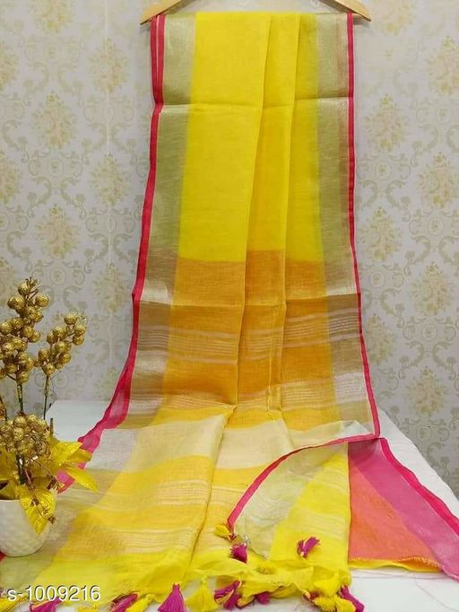 Sarees Ravishing Linen Handloom Saree  *Fabric* Saree - Linen, Blouse - Linen  *Size* Saree Length - 5.5 Mtr, Blouse Length - 0.8 Mtr  *Work* Handloom  *Sizes Available* Free Size *   Catalog Rating: ★4 (354)  Catalog Name: Rheyali Ravishing Linen Handloom Sarees CatalogID_121240 C74-SC1004 Code: 988-1009216-