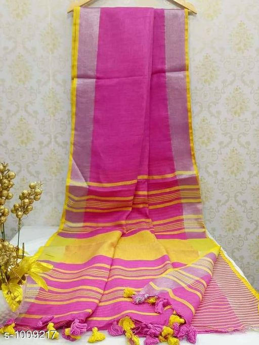 Sarees Ravishing Linen Handloom Saree  *Fabric* Saree - Linen, Blouse - Linen  *Size* Saree Length - 5.5 Mtr, Blouse Length - 0.8 Mtr  *Work* Handloom  *Sizes Available* Free Size *   Catalog Rating: ★4 (355)  Catalog Name: Rheyali Ravishing Linen Handloom Sarees CatalogID_121240 C74-SC1004 Code: 988-1009217-