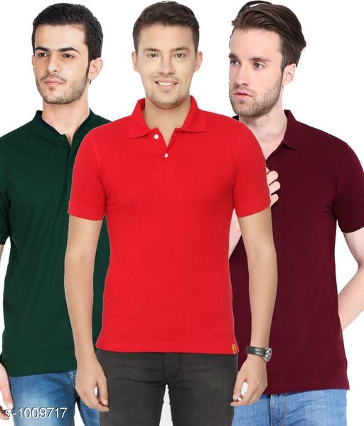 Trendy Cotton Blend Solid T-Shirts (Pack Of 3)