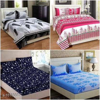 Trendy Polyester 90 x 90 Double Queen Bed Sheet