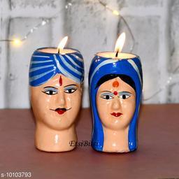 EtsiBitsi Clay Diwali Candle Standing Kaka Kaki Desi Couple Design 1 Pair Blue Color