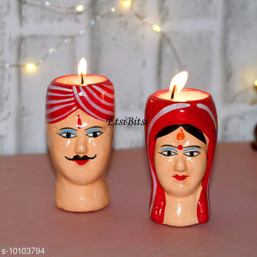 EtsiBitsi Clay Diwali Candle Standing Kaka Kaki Desi Couple Design 1 Pair Red Color