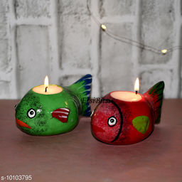 EtsiBitsi Clay Diwali Candle Standing Fish Design 2 Piece Red, Green Color