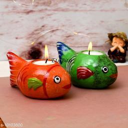 EtsiBitsi Clay Diwali Candle Standing Fish Design 2 Piece Orange, Green Color