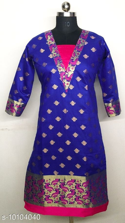 Women's Chanderi Silk Blue A-line Ethnic Motif Woven Design Kurti