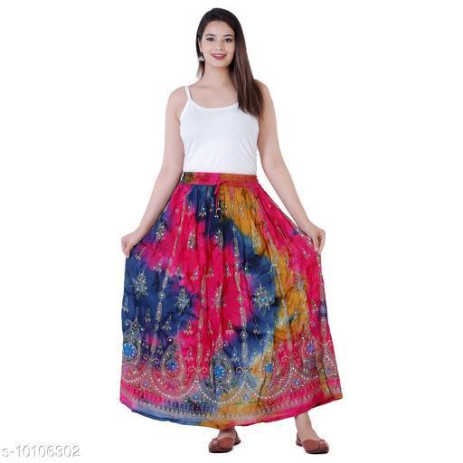 Purvahi Women's Stylish trendy Ethnic Tyedye Printed High Waist Rayon Crepe Flared Skirt