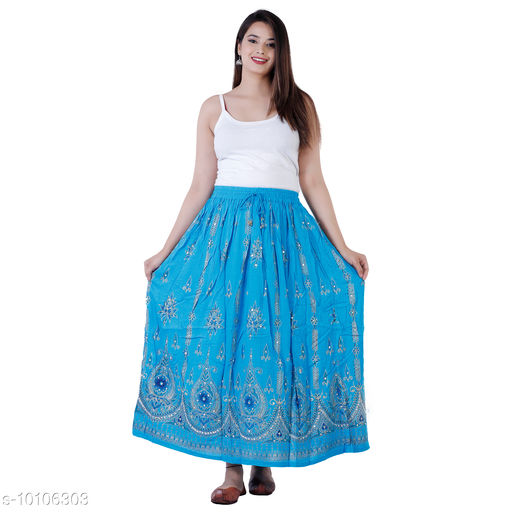 Purvahi Women's Stylish trendy Ethnic Solid High Waist Rayon Crepe Flared Skirt