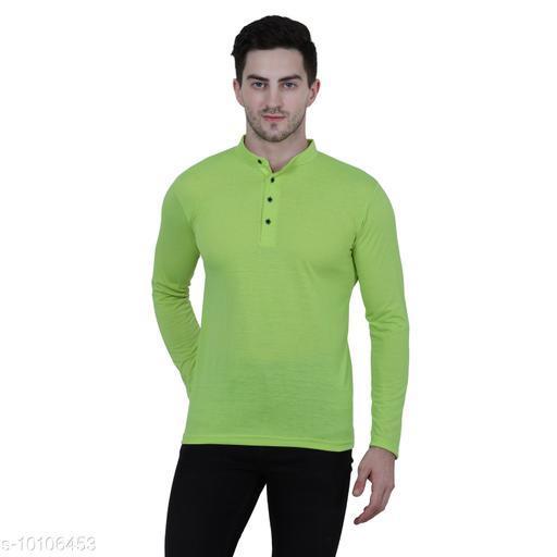 KETEX green  henley neck spun cotton fullsleeves men's tshirt