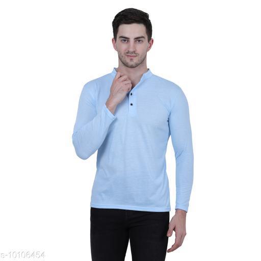 KETEX sky blue  henley neck spun cotton fullsleeves men's tshirt