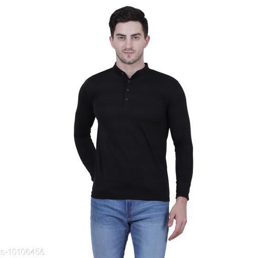 KETEX Black  henley neck spun cotton fullsleeves men's tshirt