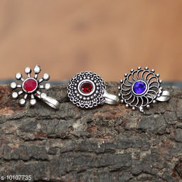 AHOORA'S BEAUTIFUL OXIDISED STONE COMBO SET NOSE RING FOR WOMEN AND GIRLS