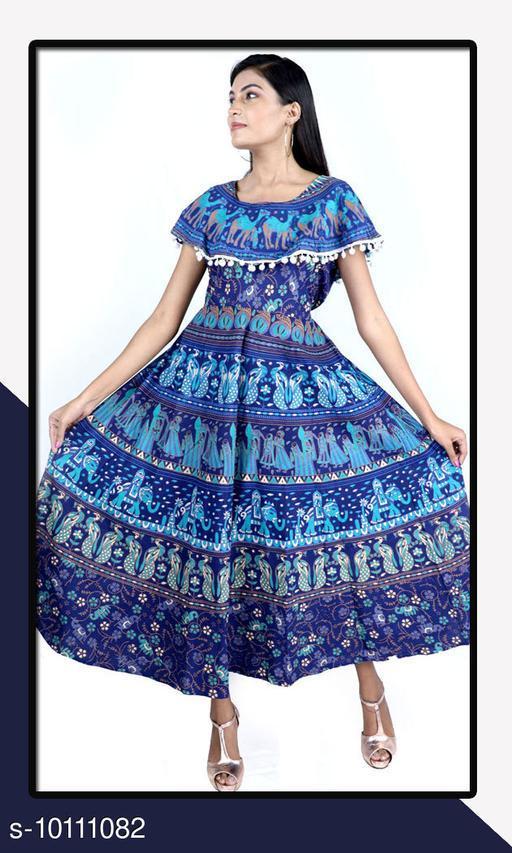 Trendy Women's Cotton Jaipuri Dress
