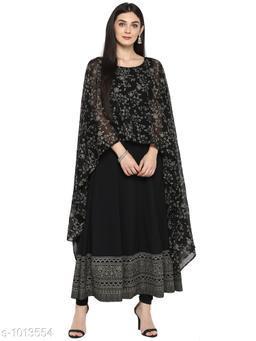 Ahalyaa Women's Printed Black Georgette Kurti