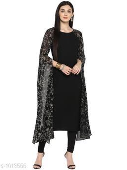 Ahalyaa Women's Solid Black Georgette Kurti