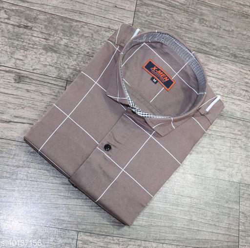 Men's Stylish Cotton Checks  Casual Solid Slim Fit Men's Shirt