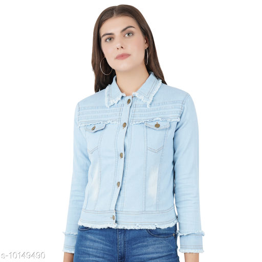 Jackets Jackets  *Fabric* Denim  *Sizes*   *L (Bust Size* 40 in, Length Size  *Sizes Available* L *    Catalog Name: Comfy Graceful Women Jackets & Waistcoat CatalogID_1828754 C79-SC1023 Code: 163-10149490-