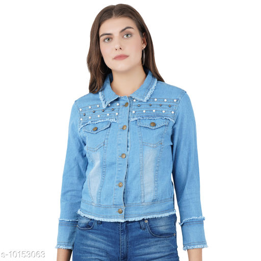 Jackets Jackets  *Fabric* Denim  *Sizes*   *S (Bust Size* 40 in, Length Size  *Sizes Available* S *    Catalog Name: Pretty Graceful Women Jackets & Waistcoat CatalogID_1829698 C79-SC1023 Code: 424-10153063-