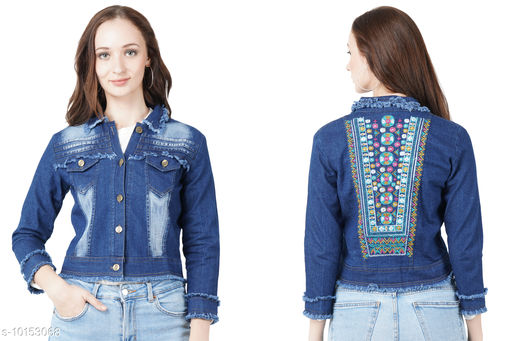 Jackets Jackets  *Fabric* Denim  *Sizes*   *S (Bust Size* 40 in, Length Size  *Sizes Available* S *    Catalog Name: Pretty Graceful Women Jackets & Waistcoat CatalogID_1829698 C79-SC1023 Code: 424-10153068-