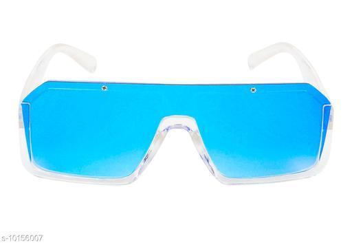 TheWhoop Latest Goggles Rectangular Shape Mirror Dark Blue Unisex Sunglasses
