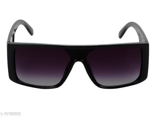 TheWhoop UV Protection Large Retro Square Full Black Unisex Sunglasses