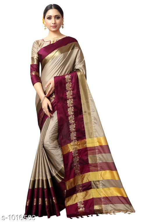 Sarees Ethnic Cotton Silk Saree  *Fabric* Saree - Cotton Silk, Blouse – Cotton Silk  *Size* Saree – 5.5 Mtr, Blouse – 0.8 Mtr  *Work* Zari Work  *Sizes Available* Free Size *   Catalog Rating: ★4 (432)  Catalog Name: Rheyali Solid Cotton Silk Sarees with Tassels and Latkans CatalogID_122487 C74-SC1004 Code: 575-1016583-