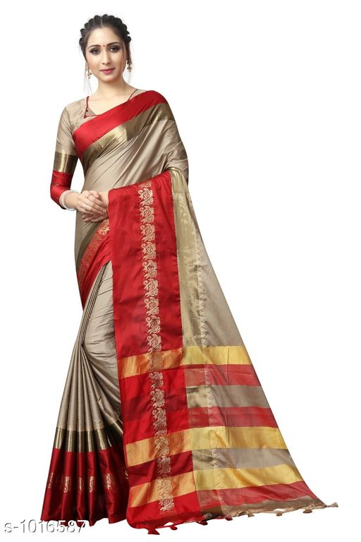 Sarees Ethnic Cotton Silk Saree  *Fabric* Saree - Cotton Silk, Blouse – Cotton Silk  *Size* Saree – 5.5 Mtr, Blouse – 0.8 Mtr  *Work* Zari Work  *Sizes Available* Free Size *   Catalog Rating: ★4 (432)  Catalog Name: Rheyali Solid Cotton Silk Sarees with Tassels and Latkans CatalogID_122487 C74-SC1004 Code: 385-1016587-