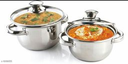 Set of 2 Stainless Steel Induction Bottom Dutch Oven with Glass Lid (20cm, 2 Litre & 18cm , 1.5 litre)