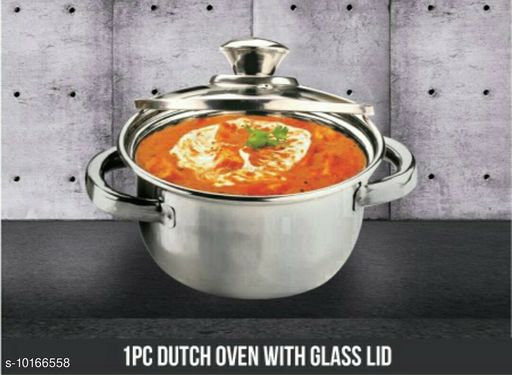 Stainless Steel Induction Bottom Dutch Oven with Glass Lid (20cm, 2 litres)