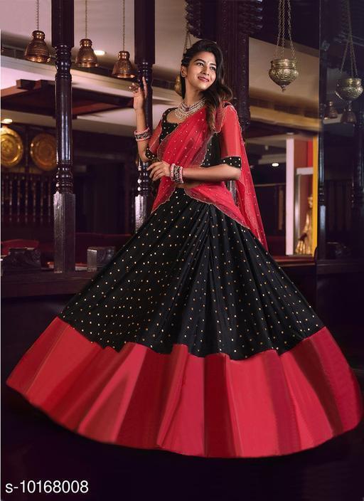 Women's Black Satin Silk Partywear Gown