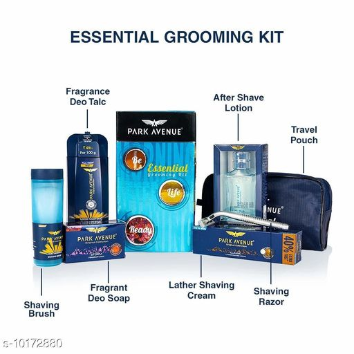 Personal Care & Grooming  Personal Care & Grooming  *Product Name* We send you our essential kit image , price and detail .  *Type* Personal Care  *Quantity* Park Avenue Deo Talc (100g), Park Avenue After Shave Lotion (50ml), Park Avenue Fragrant Soap (125g), Park Avenue Lather Shaving Cream (84g), Park Avenue Shaving Brush (1N), Park Avenue Razor (1N)  *Multipack* Pack Of 6  *Sizes Available* Free Size *    Catalog Name: Personal Care & Grooming CatalogID_1835396 C65-SC1233 Code: 784-10172880-