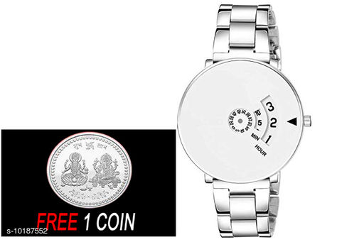 FREE 1 PCS SILVER COLOR COIN Analogue white Dial with Silver PAIDU Chakari Belt Mens Watch