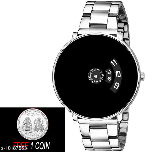FREE 1 PCS SILVER COLOR COIN Analogue Black Dial with Silver PAIDU Chakari Belt Mens Watch