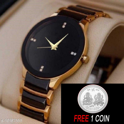 FREE 1 PCS SILVER COLOR COIN Analogue gold Dial Basics Wrist Watch for Men - IIK Full gold Men