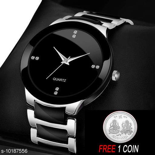 FREE 1 PCS SILVER COLOR COIN Analogue silver Dial Basics Wrist Watch for Men - IIK Full silver Men