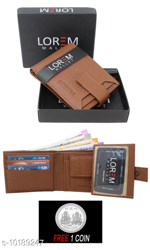 FREE SILVER COLOR COIN WITH Men Casual Tan Artificial Leather Wallet ML--WL-010  ( ONE PIECE )