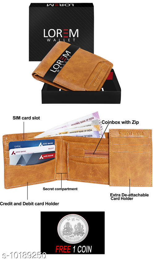FREE SILVER COLOR COIN WITH Men Casual Tan Artificial Leather Wallet ML:-WL-06 ( ONE PIECE )
