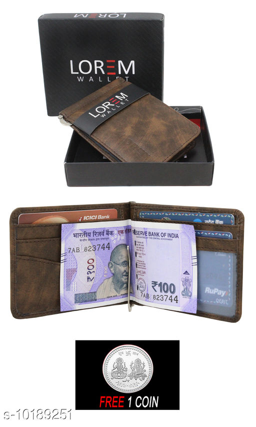 FREE SILVER COLOR COIN WITH Men Casual Tan Artificial Leather Wallet ML:-WL-05 ( ONE PIECE )