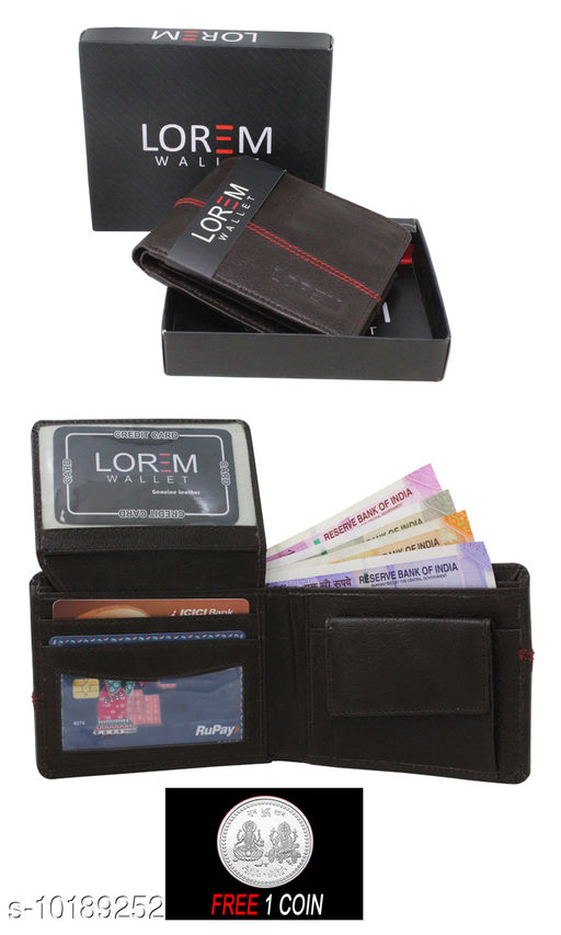 FREE SILVER COLOR COIN WITH Men Casual Tan Artificial Leather Wallet ML:-WL-07 ( ONE PIECE )