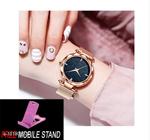 FREE MOBILE STAND WITH Gold Magnetic with Black Dial 4 - Digit & Gold Belt Analog Watch for Men and Women ( 1 :- PCS )