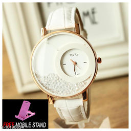 FREE MOBILE STAND WITH White Mxre Diamond Analogue Watch - Dial White Lether Watch for Girls and Women  ( 1 :- Piece )