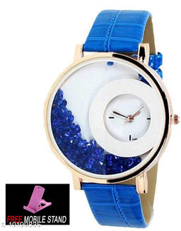 FREE MOBILE STAND WITH Blue Mxre Diamond Analogue Watch Dial - Blue Lether Watch for Girls and Women  ( 1 :- Piece )