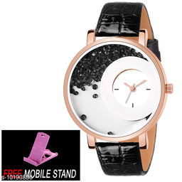 FREE MOBILE STAND WITH Black Mxre Diamond Analogue Watch Dial - Black Lether Watch for Girls and Women  ( 1 :- Piece )