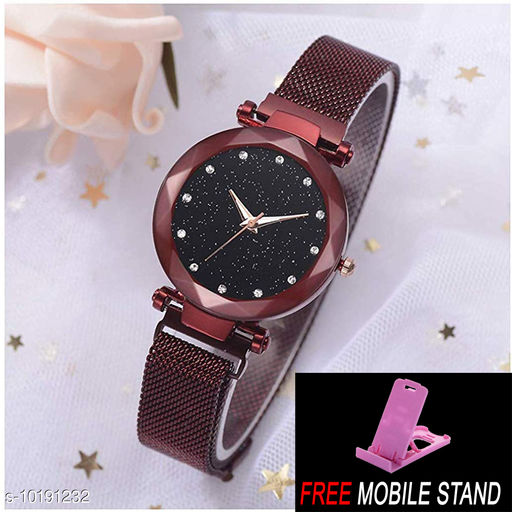 FREE MOBILE STAND WITH Magnetic Red Strap Styish Luxury Analog Watch for Women and Girls ( PCS :- 1)