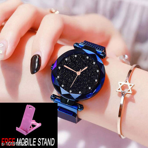 FREE MOBILE STAND WITH Magnetic Blue  Strap Styish Luxury Analog Watch for Women and Girls ( PCS :- 1)