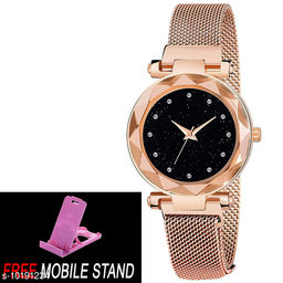 FREE MOBILE STAND WITH Gold Magnet  with Black Dial, Diamond Hours & Gold Belt An alog Watch for Men and Women ( PCS :- 1)
