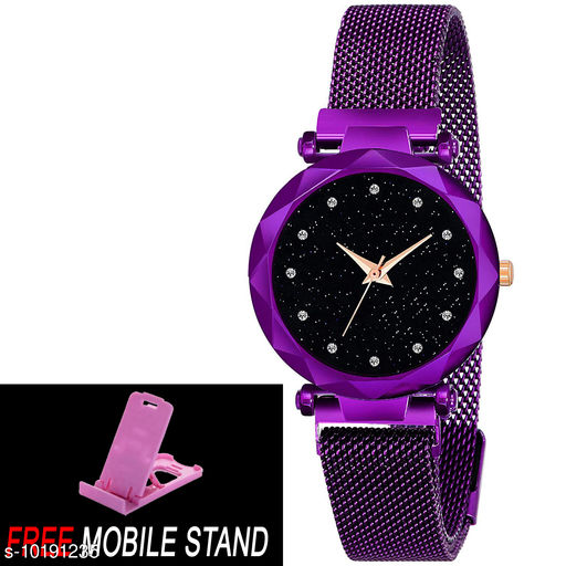 FREE MOBILE STAND WITH Purple Color  Magnet with Black Round Diamond Dial with Latest Generati on Magnet Belt Analogue Watch for Women ( PCS :- 1)