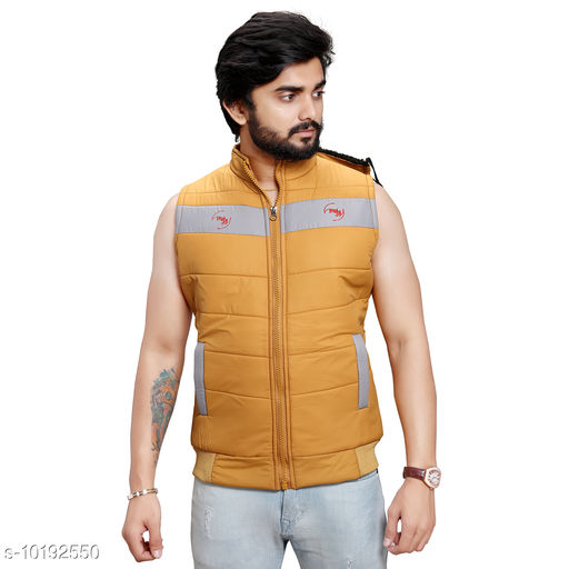 Men's Quilted Sleeveless Jacket (Yellow)